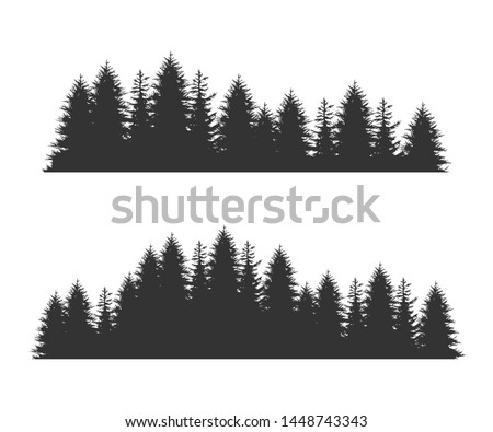 Forest Fir Trees Silhouettes, Coniferous Spruce Horizontal Seamless Pattern, Black Evergreen Woods Vector Illustration