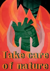 Forest fire fighting, nature protection and wildfire prevention poster. Vector natural disaster fire burning trees in woodlands, save earth and planet firefighting warning. The heart of the forest