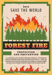 Forest fire fighting, nature protection social warning vintage grunge poster. Vector natural disaster and wildfire prevention of fire burning trees in woodlands, planet global firefighting