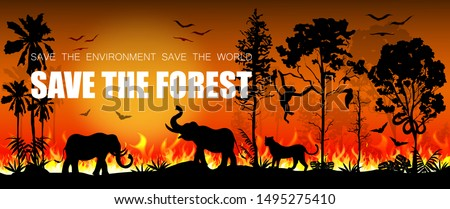 Forest fires in Amazon and Australia with silhouettes of wild animals. Problems in the amazon rain forest. Element for your graphic. Vector illustration.