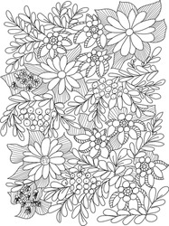 Forest flowers, leaves and berries. Vector coloring book pages for adult and children. Hand drawn illustration. Love bohemian concept for wedding invitations, cards, congratulations, branding,