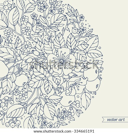 Stock Photo Forest flowers, wild berries, apple fruits wreath. Vector floral artwork. Love bohemia concept for wedding invitations, cards, tickets, branding, boutique logo, label. Monochrome dark grey blue, beige
