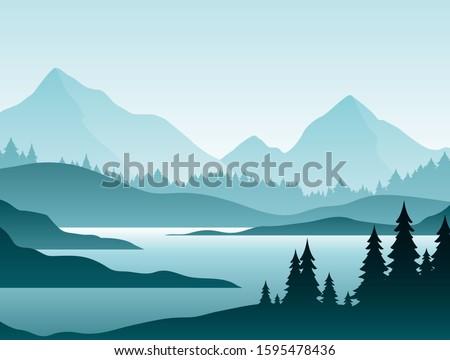 forest foggy landscape flat