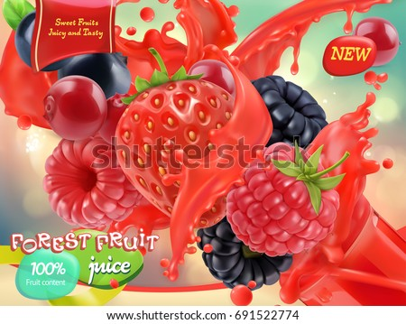 Forest fruit. Mixed berry. 3d realistic vector, package design