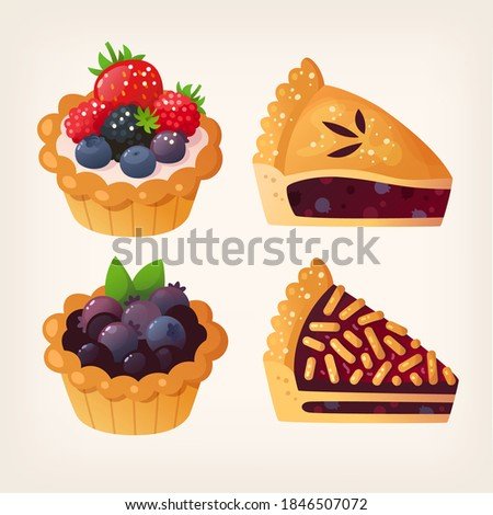 Forest fruit pies and tarts. Isolated vector images. Photo stock ©