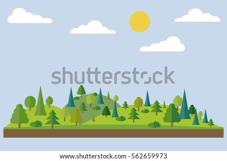 forest in flat style summer