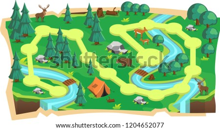 Forest Jungle 2D Game Maps with Path and Green land with Bear, Mouse Deer, Tent, Rivers, stone and Trees for Platform Vector Illustration ストックフォト ©