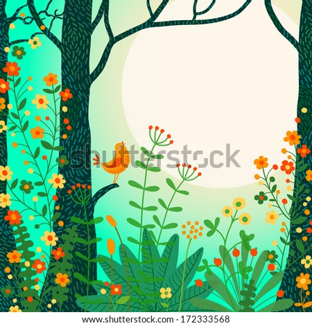 Forest landscape. Beautiful forest scene with bird and place for your text. Vector illustration.