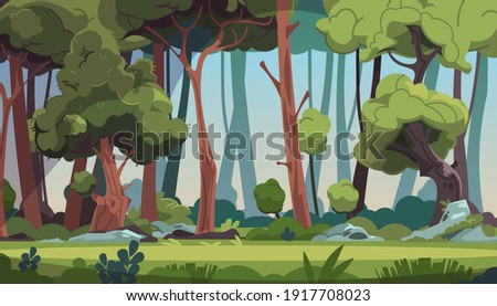 Forest landscape. Cartoon dense wood with green foliage and strong tree trunks. Scenic grassy meadow with stones illuminated by sun's rays. Panoramic natural scape background. Vector wild flora Сток-фото ©
