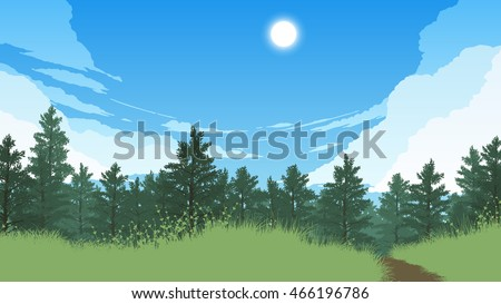 forest landscape flat color