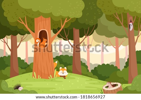 Forest landscape. Trees with holes for wild animals house in wooden trunk for birds squirrels fox vector cartoon background