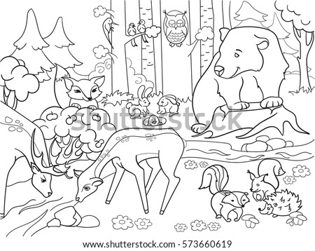 forest landscape with animals