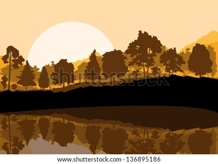 Forest landscape with trees and reflection in water vector background