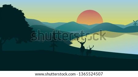 forest landscape with two deer