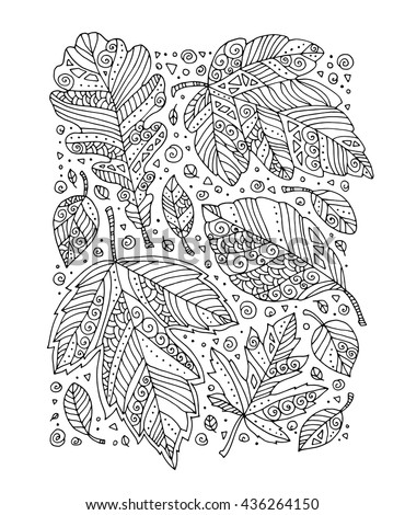Forest leaves art background, maple, oak. Vector. Hand drawn artwork. Set collection. Bohemia concept for invitation card, ticket, branding. Coloring book page for adult. Black and white forest leaves