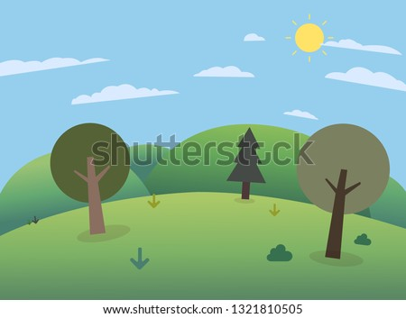 forest on hills with big