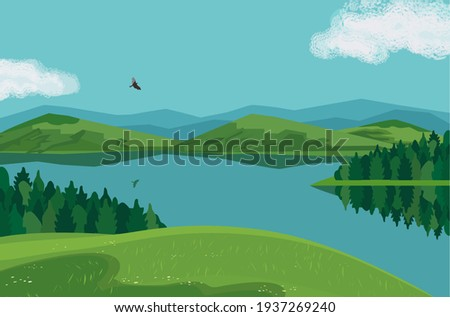 Forest on mountains river landscape background vector poster. Bright sunny day in green mountain calm lake valley cartoon illustration. Summer season alpine wild nature outdoor hand drawn scenic view