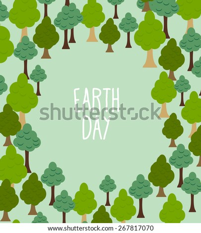 forest pattern. Background of trees. Earth day Template with space for text - stock vector