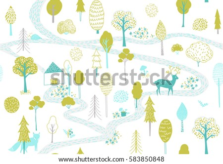 Forest pattern with deer, fox and small house. Seamless texture with cute hand drawn illustrations of trees and animals