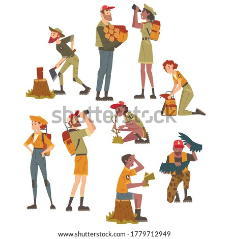 Forest Rangers at Working Set, National Park Service Employee Characters in Uniform Cartoon Style Vector Illustration Stock photo ©