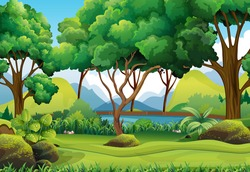 Forest scene with river and trees illustration