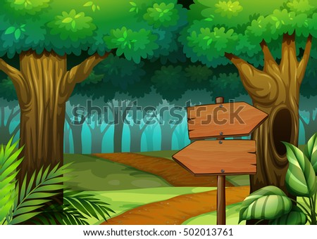 Forest scene with wooden signs illustration