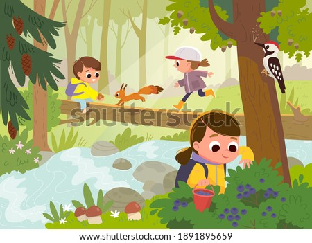 Forest school movement activities. Mushroom hunting, mushrooming, picking forest wild berries. Kids go walking to the woods by fallen tree bridge across the stream. Children gets out in the fresh air.