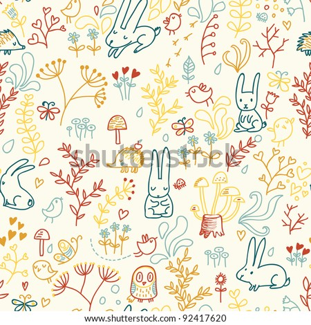 Forest seamless pattern in cartoon style - stock vector