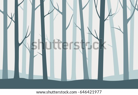 Stock Photo Forest seamless pattern with blue silhouettes of trees