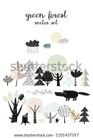 forest set   wolf and forest