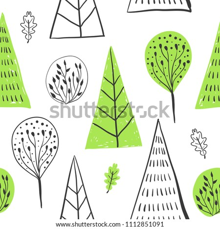 Forest simple sketh drawn hand seamless pattern with tree, foliage, coniferous, spruce, fir. For wallpapers, web background, textile, wrapping, fabric, kids design. Scandinavian style