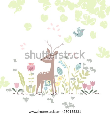 forest theme card with deer in