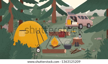 Forest touristic camp with tent, bonfire, firewood, campervan, equipment, tools for adventure tourism, travel, bushcraft, backpacking. Campsite surrounded by spruce trees. Flat vector illustration.