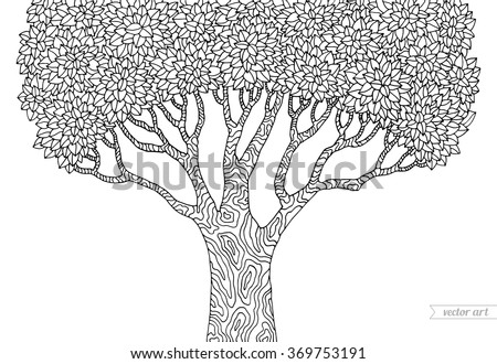 forest tree isolated big old tree vector botany detailed artwork coloring book page - Coloring Book Tree