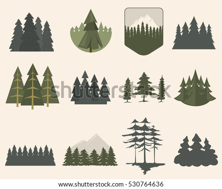 Forest tree logo badge vector green natural silhouette set. Forest treetop deep colors design