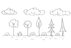 Forest Tree Woods Sketch Simple Line Child Hand Drawing Vector Illustration
