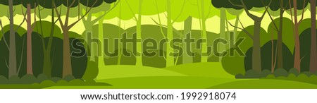 Forest trees background. Glade in the thicket. Beautiful green summer landscape. Flat design. Cartoon style. Background illustration. Vector