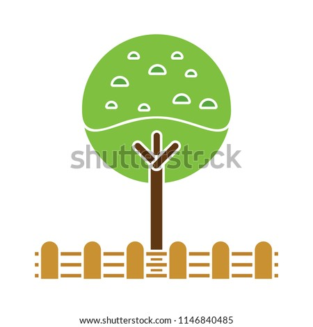 forest  vector tree with wooden