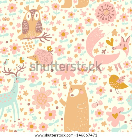Forest wallpaper with bear, owl, fox, deer, bird and hedgehog in childish cartoon style.Seamless pattern can be used for wallpaper, pattern fills, web page background, surface textures.