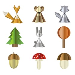 Forest wild animals and plants illustration. Vector set of isolated objects on a white background paper cut out. Icons of fox, wolf, bear and hare. Forest mushrooms Amanita and acorn