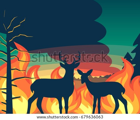 forest wildfire with deer and
