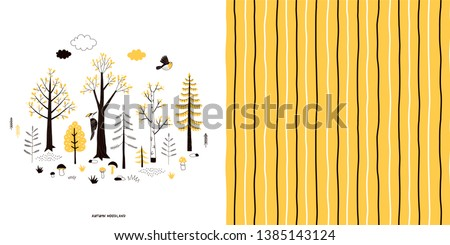 Forest wildlife childish fashion textile graphics set with t-shirt print and accompanied tileable background in decorative Scandinavian style. Woody landscape scene illustration. Doodle vertical
