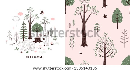 Forest wildlife childish fashion textile graphics set with t-shirt print and accompanied tileable background in decorative Scandinavian style. Woody landscape scene with cute bear illustration