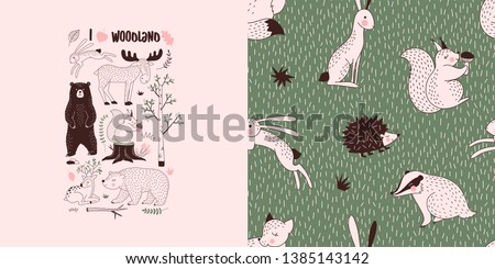 Forest wildlife childish fashion textile graphics set with t-shirt print and accompanied tileable background in decorative Scandinavian style. Woody landscape elements Bear Hare Squirrel Moose Deer