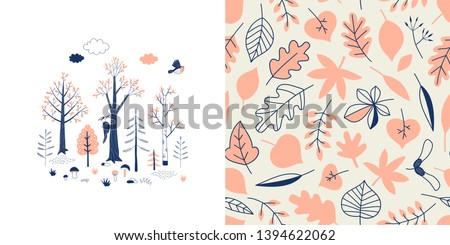 Forest wildlife childish fashion textile graphics set with t-shirt print and accompanied tileable background in decorative Scandinavian style. Woody landscape scene illustration. Woodland Tree Leaves