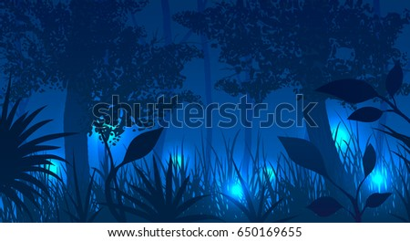 forest with glowing fireflies