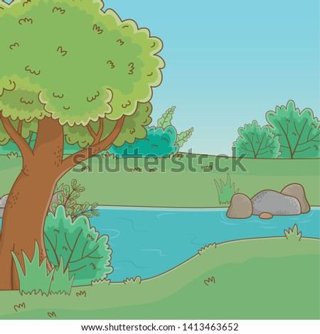 forest with trees design vector
