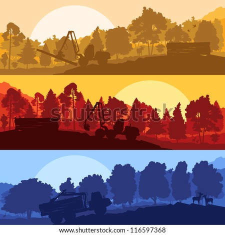 Forestry loggers tractors in forest glade landscape with detailed wild animals illustration collection background vector