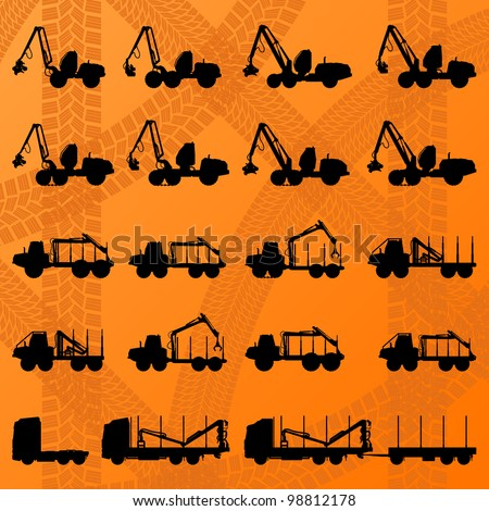 Forestry tractors, trucks and loggers hydraulic machinery detailed editable silhouettes illustration collection background vector - stock vector