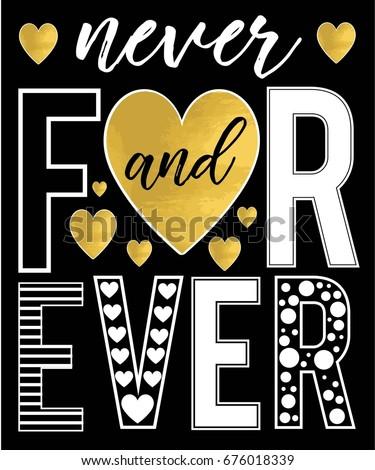 forever slogan and gold foil heart vector for print design